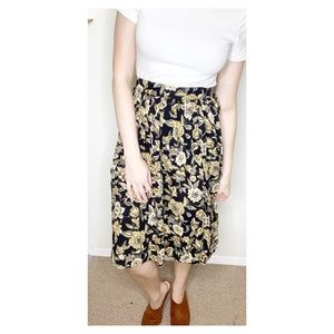 Vintage Floral Midi Skirt- Size Small